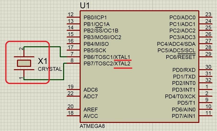Подключение кварцевого резонатора к микроконтроллеру
