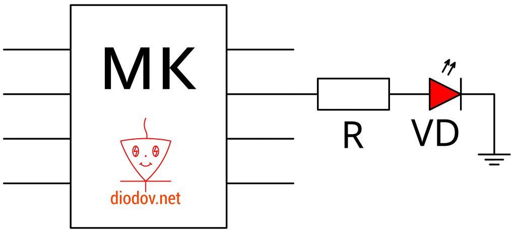 Подключение светодиода к микроконтроллеру