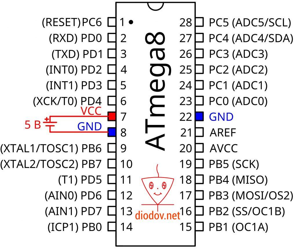 Выводы питания микроконтроллера ATmega8