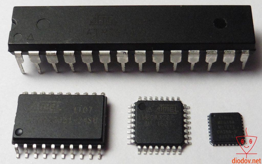 Микроконтроллеры в разных типах корпусов