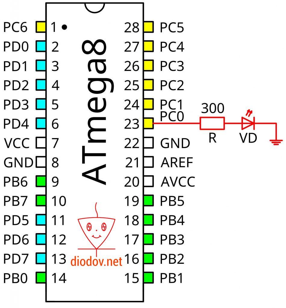 Схема подключения светодиода к выводам микроконтроллер ATmega8