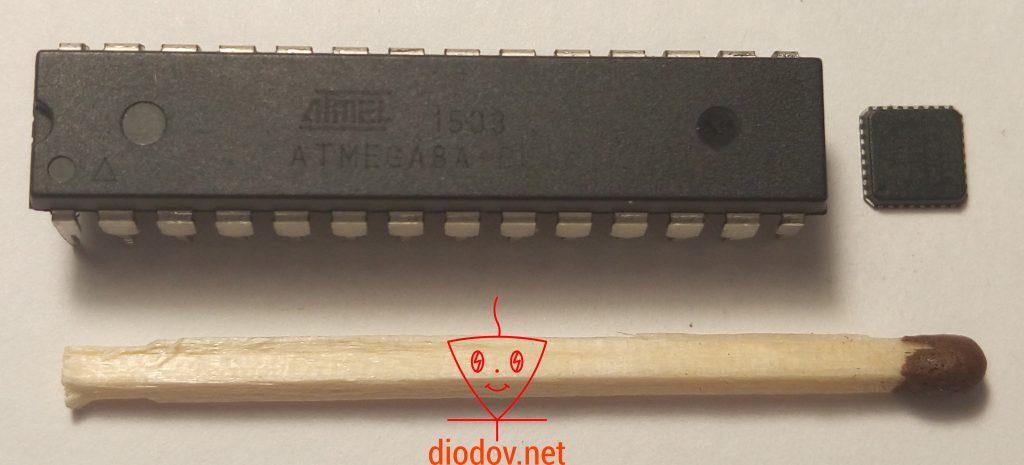 Микроконтроллер ATmega8 в DIP и QFN корпусах