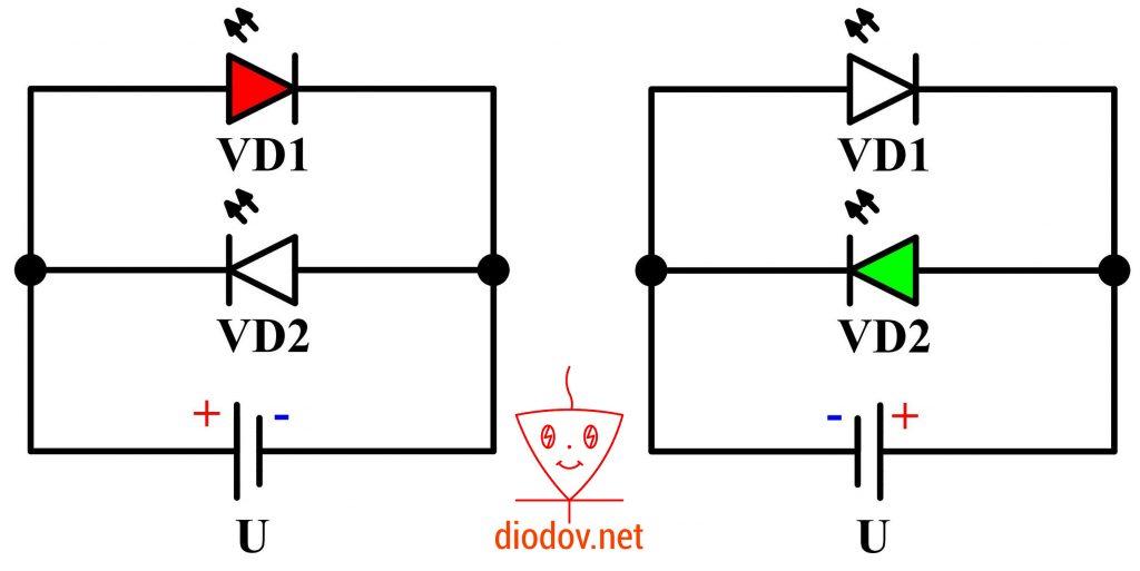 Схема подключения двухцветного светодиода с двумя выводами