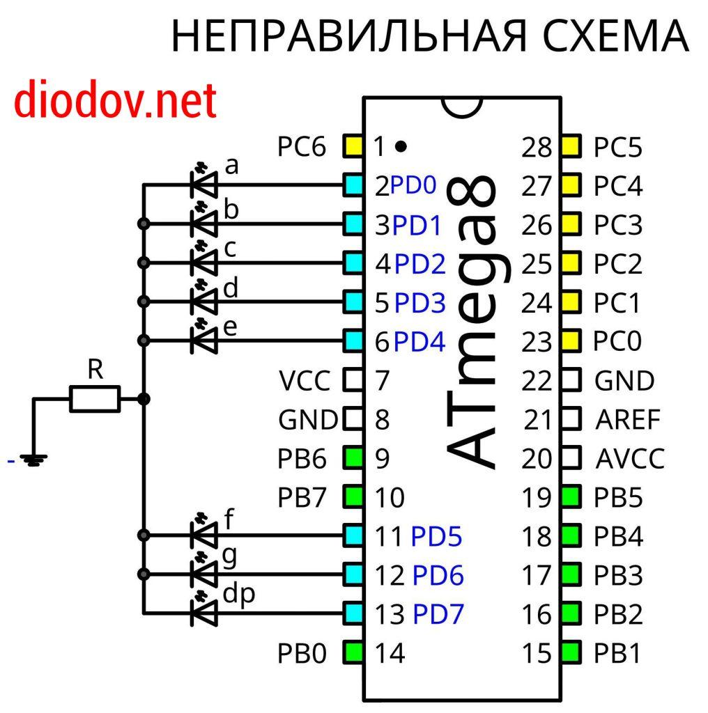 Схема подключения семисегментного индикатора к микроконтроллеру ATmega8