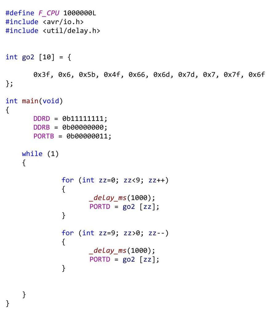 оператор for | программирование микроконтроллеров