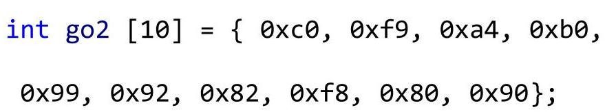 Массив шестнадцатеричных чисел для семисегментного индикатора с общим анодом
