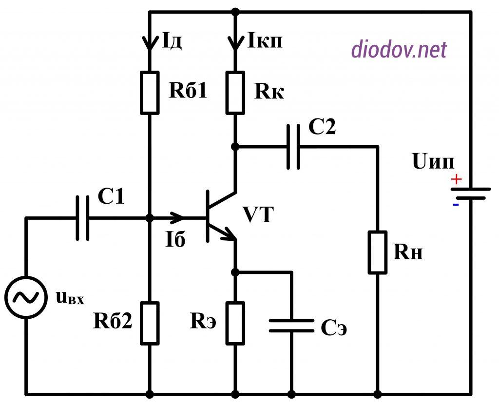 схема усилителя мощности звуковой частоты УМЗЧ