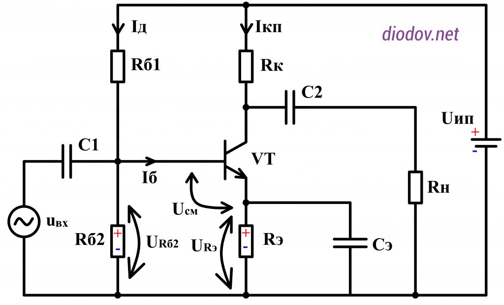 Усилитель звука на транзисторах с температурной стабилизацией
