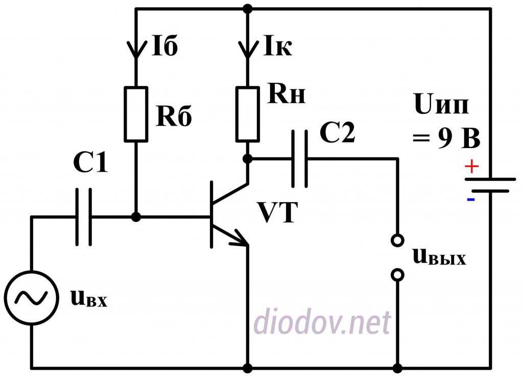 Схема усилителя на транзисторе