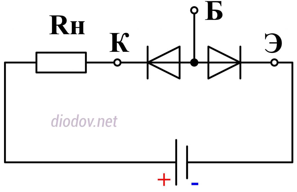 Схема замещения транзистора в режиме отсечки