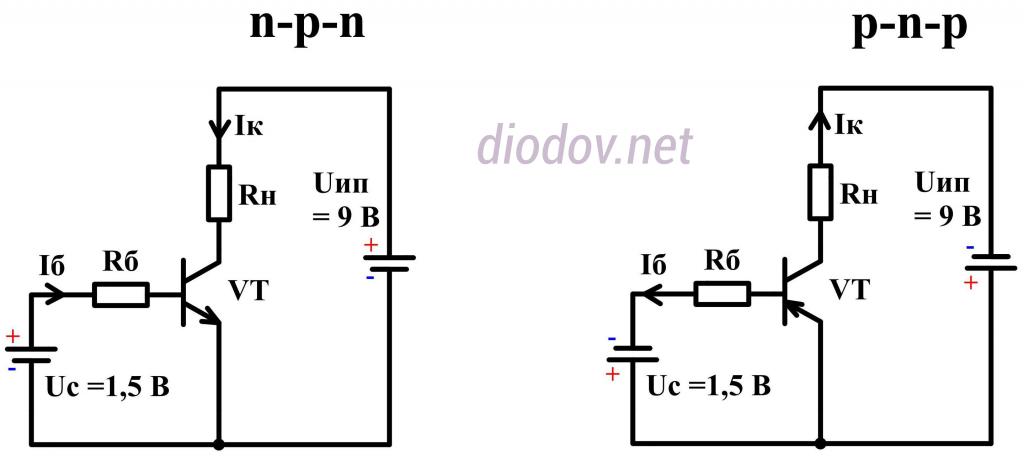 Схема включения транзистора
