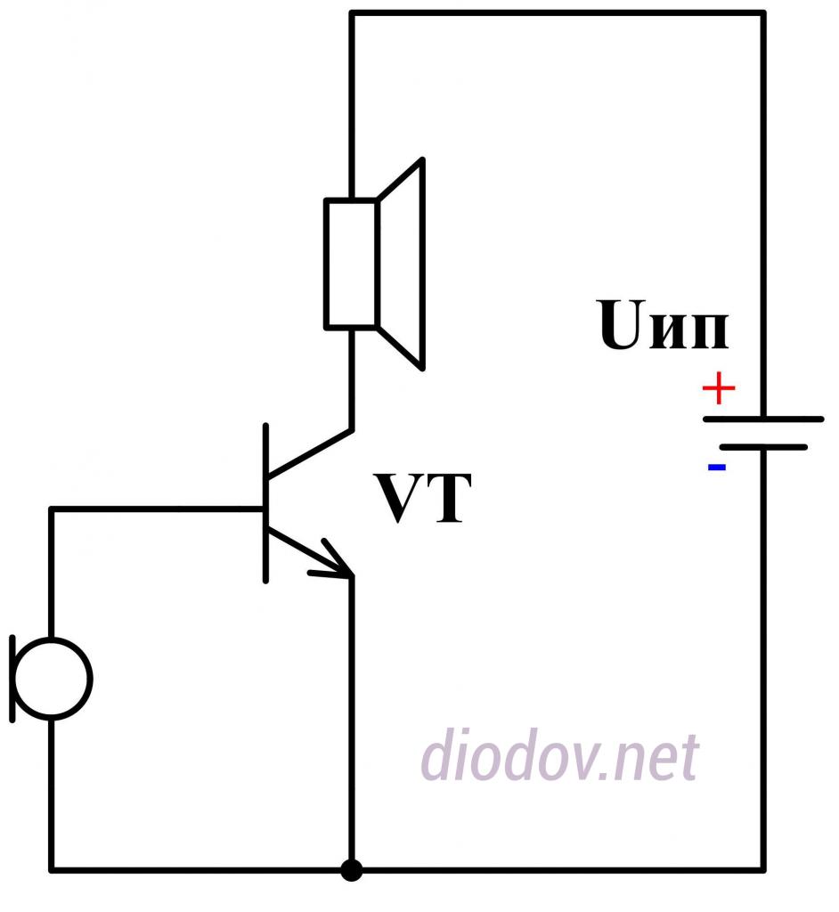 Упрощенная схема усилителя звука на транзисторе