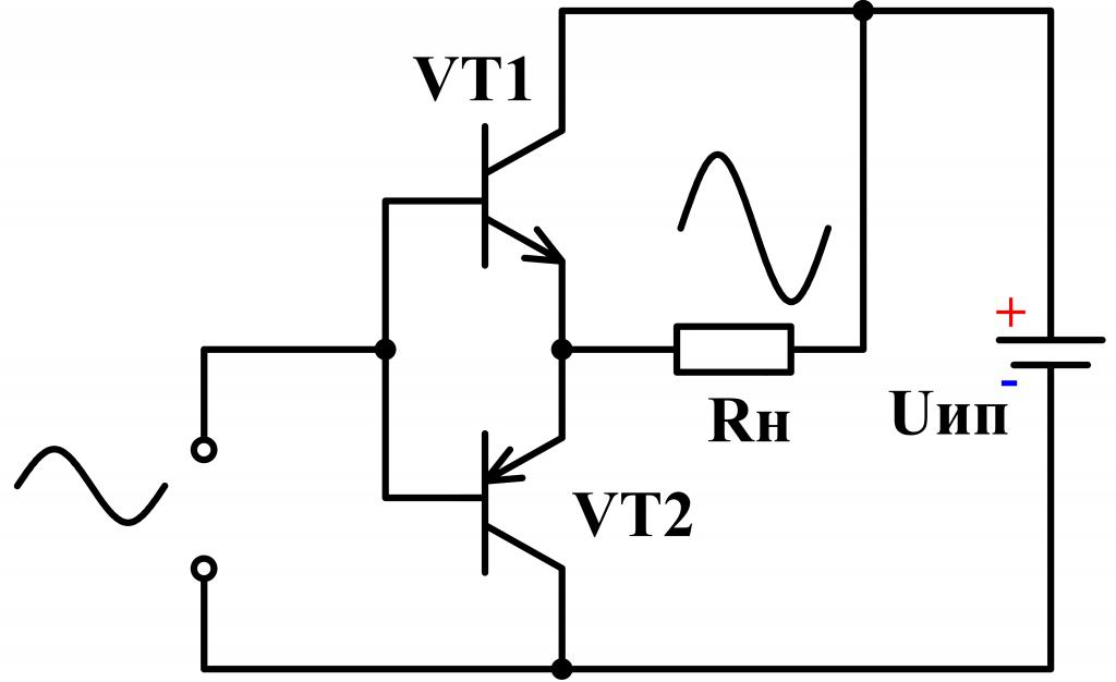 Схема выходного усилителя класса B