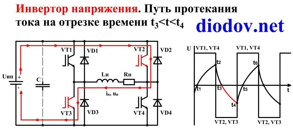 Схема автономного инвертора напряжения