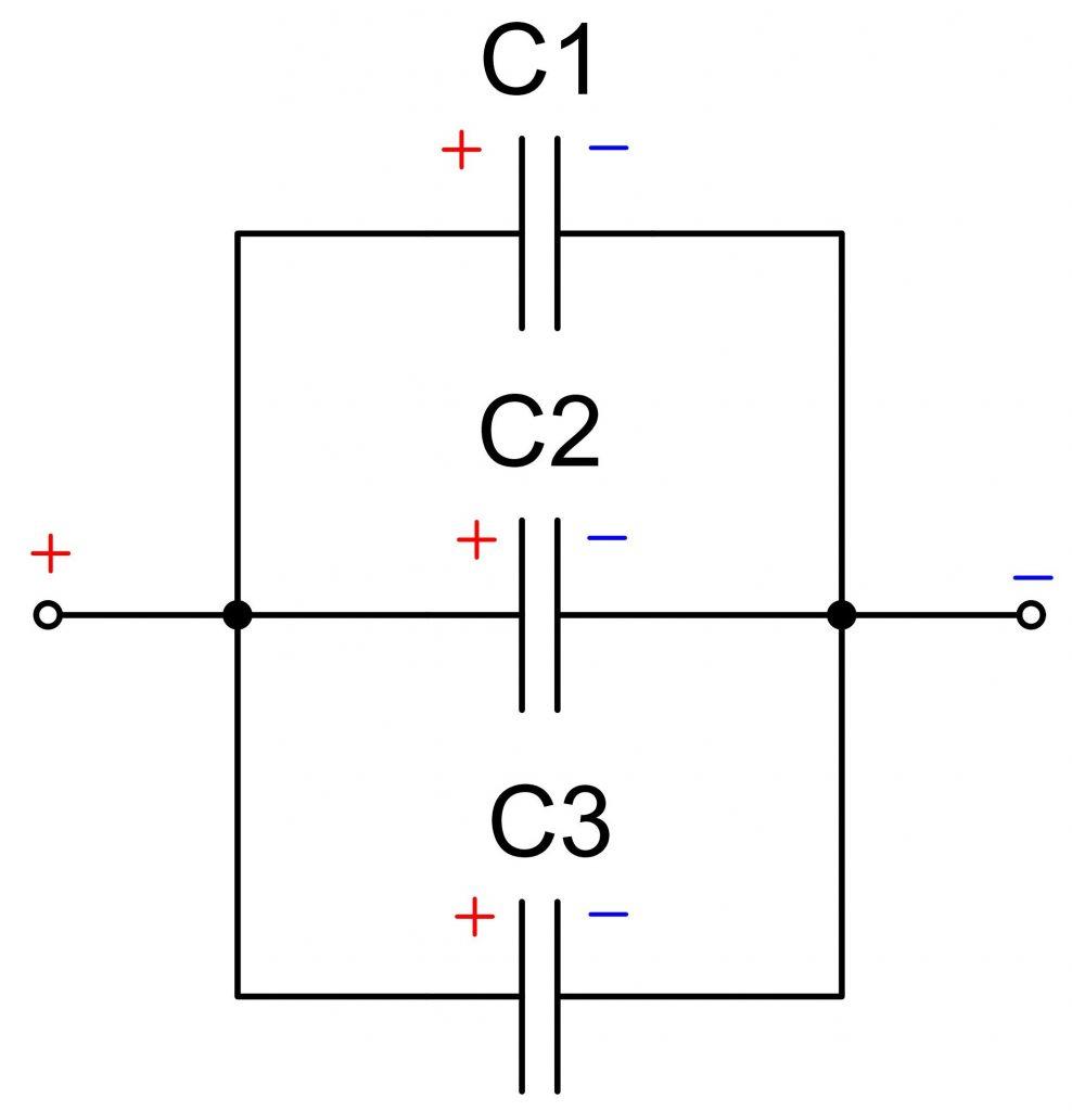Схема параллельного соединения электролитических конденсаторов