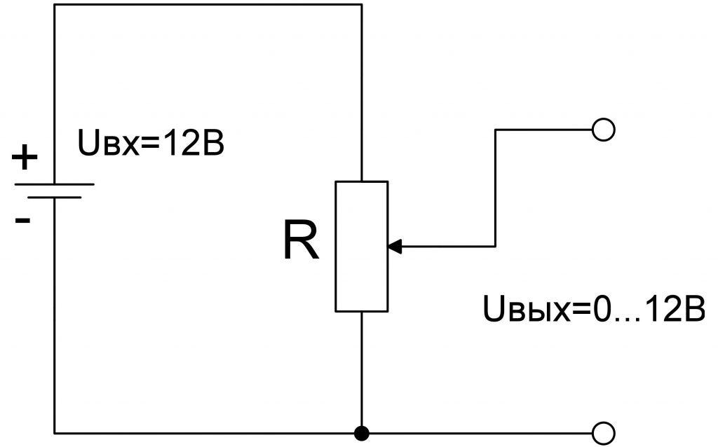 Схема включения переменного резистора - потенциометра