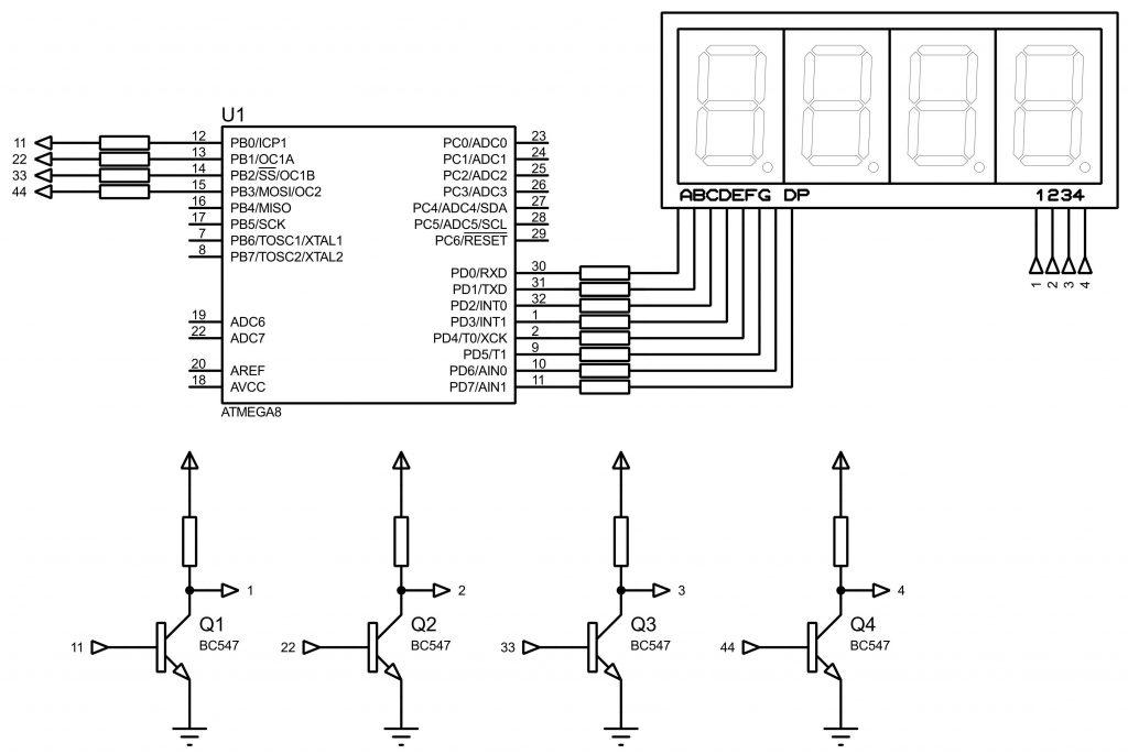 Динамическая индикация с общим катодом Схема подключения к микроконтроллеру AVR ATmega8