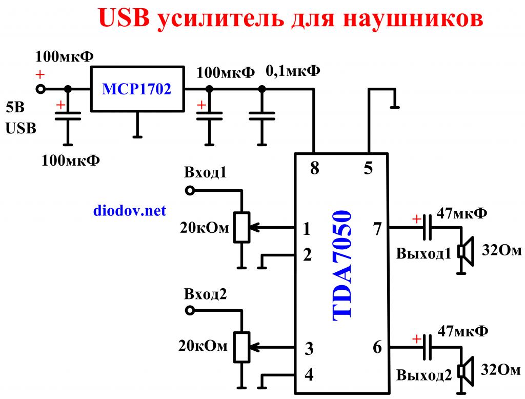 Схема USB усилителя звука для наушников TDA7050