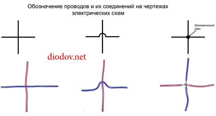 Обозначение проводов и их соединений на чертежах электрических схем