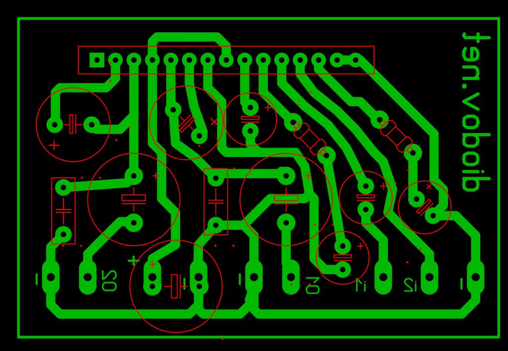 Разводка схемы усилителя звука на TA8229K
