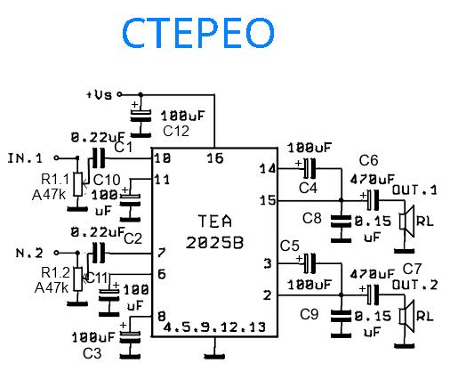 Схема стерео усилителя на tea2025b