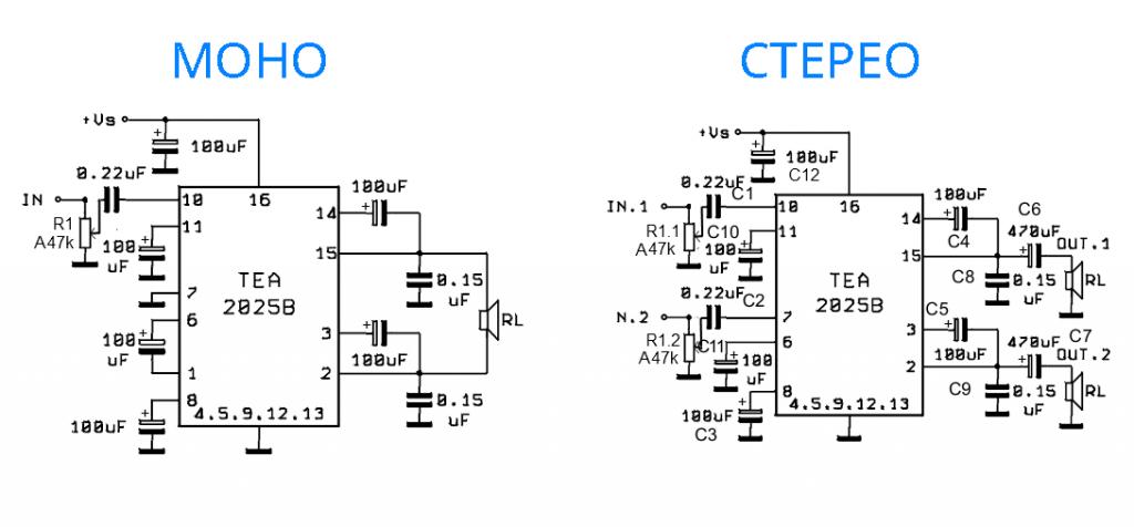 tea2025b схема стерео усилителя